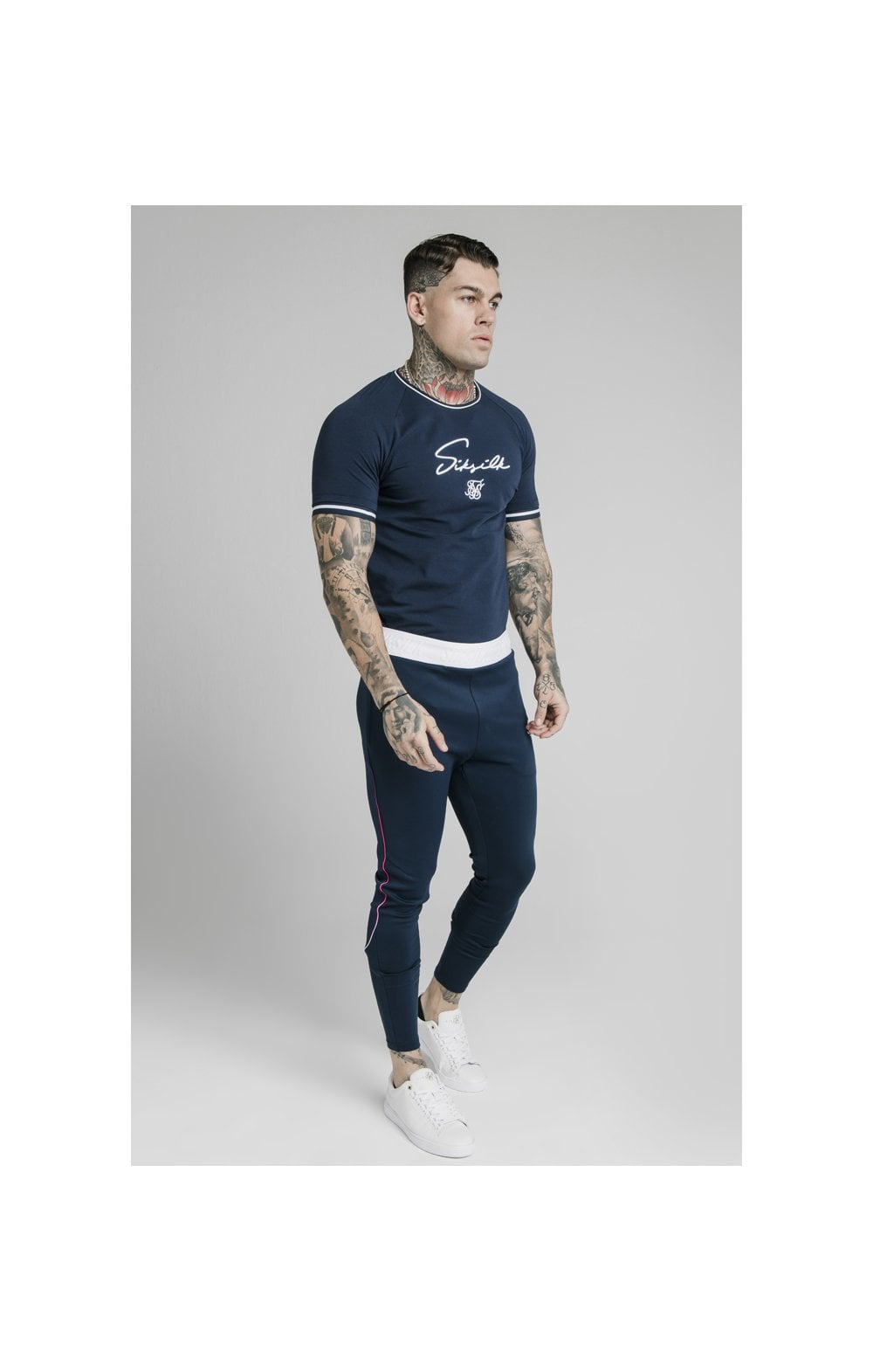 Load image into Gallery viewer, SikSilk Athlete Prestige Fade Track Pants - Navy (5)