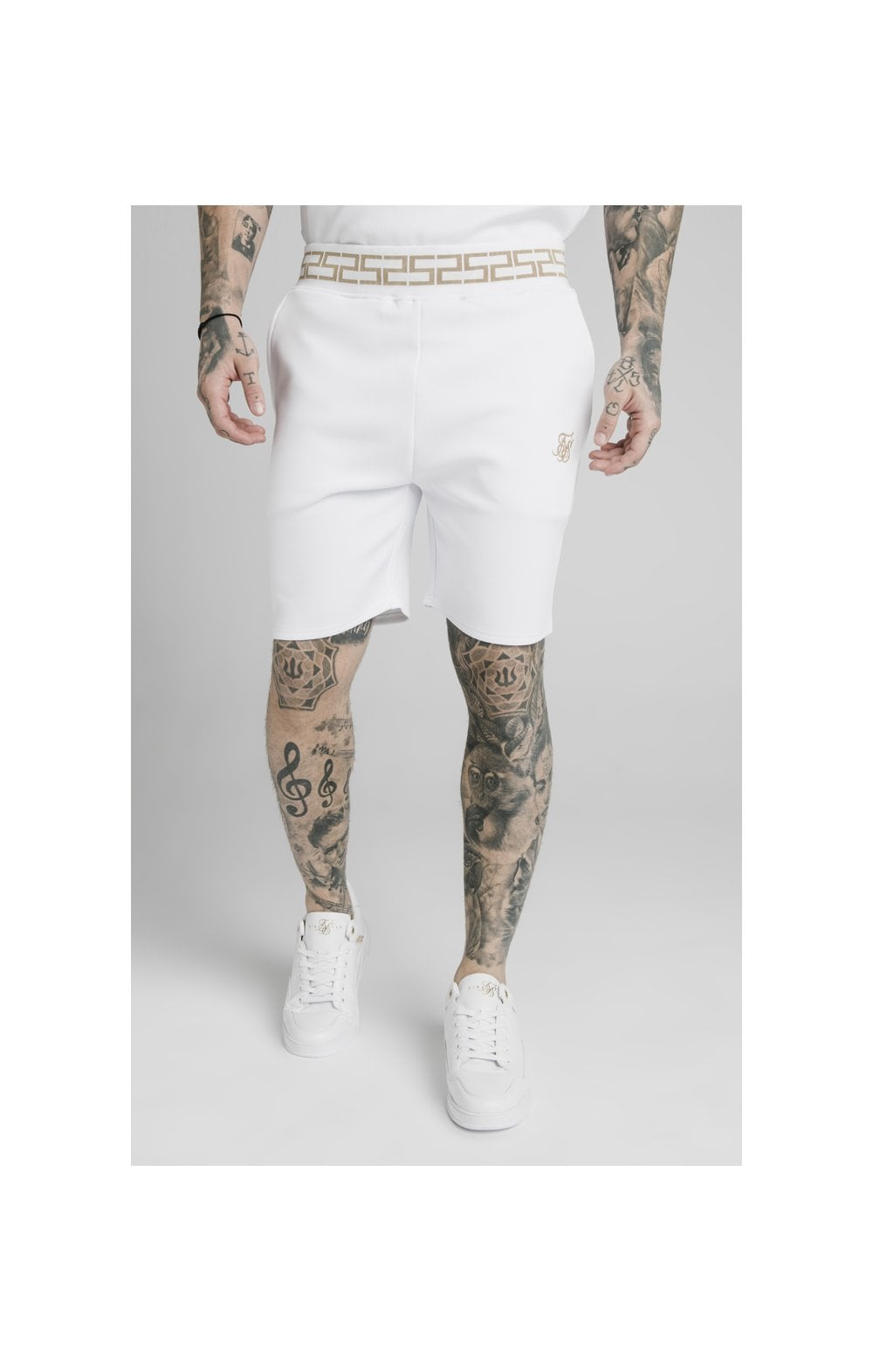 SikSilk Chain Rib Relaxed Shorts - White (1)