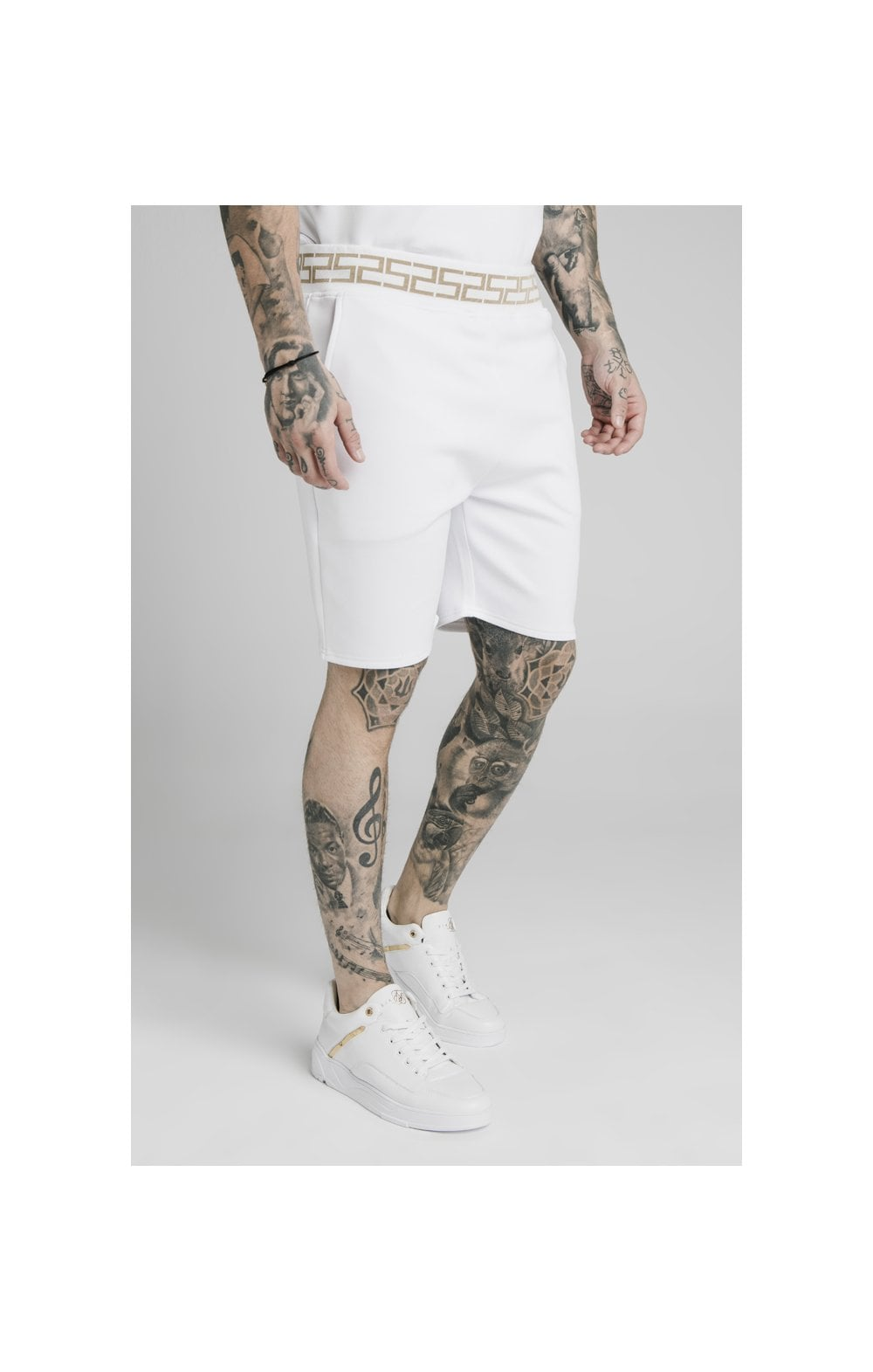 SikSilk Chain Rib Relaxed Shorts - White (2)