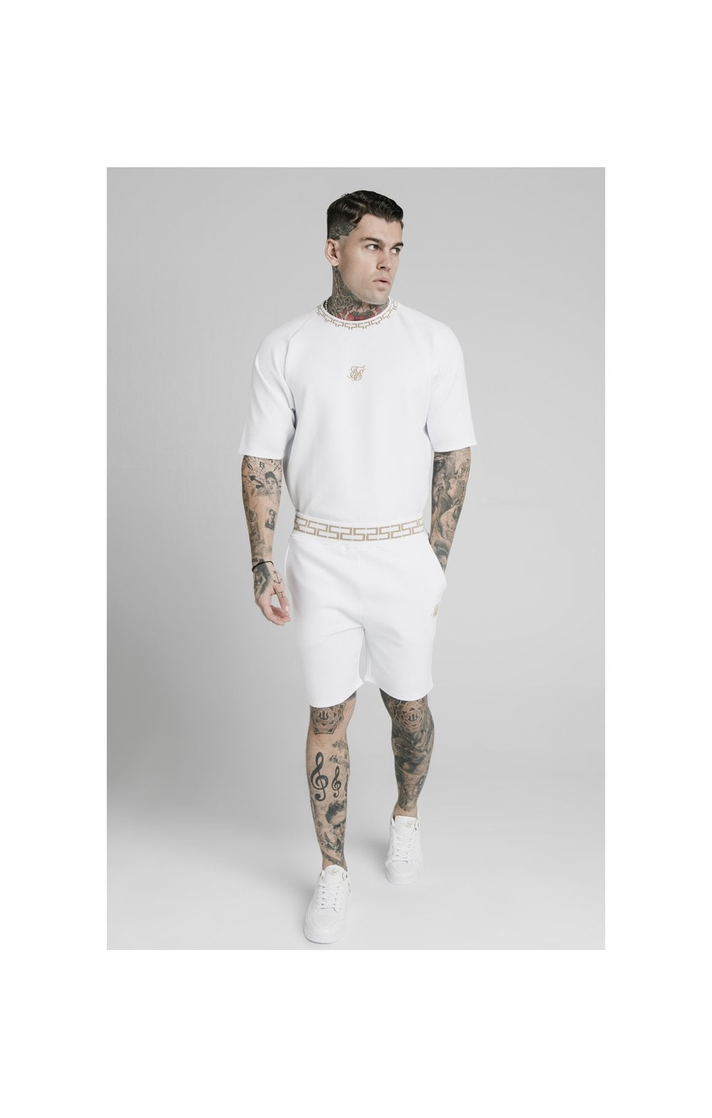 SikSilk Chain Rib Relaxed Shorts - White (3)
