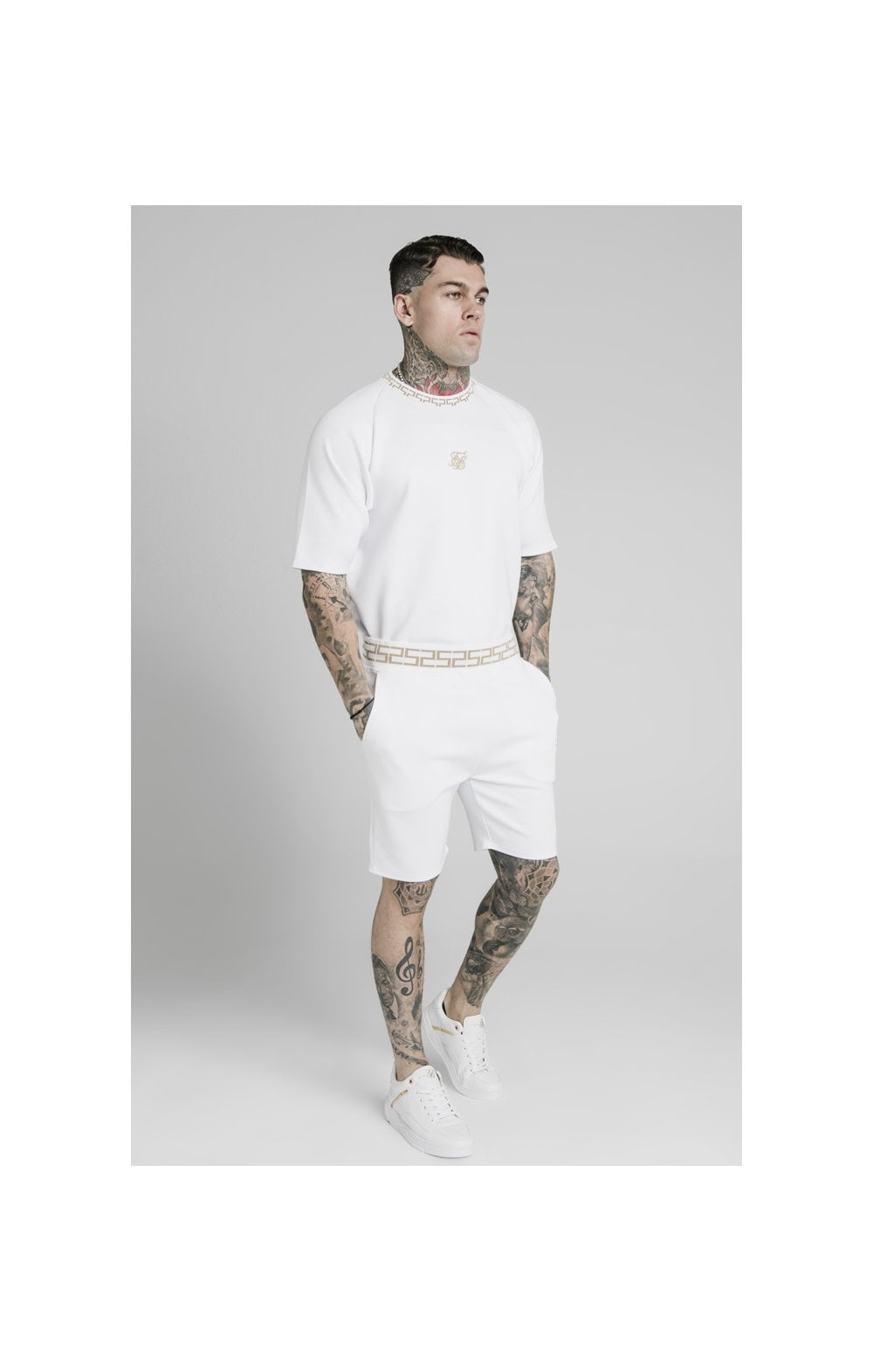 SikSilk Chain Rib Relaxed Shorts - White (4)