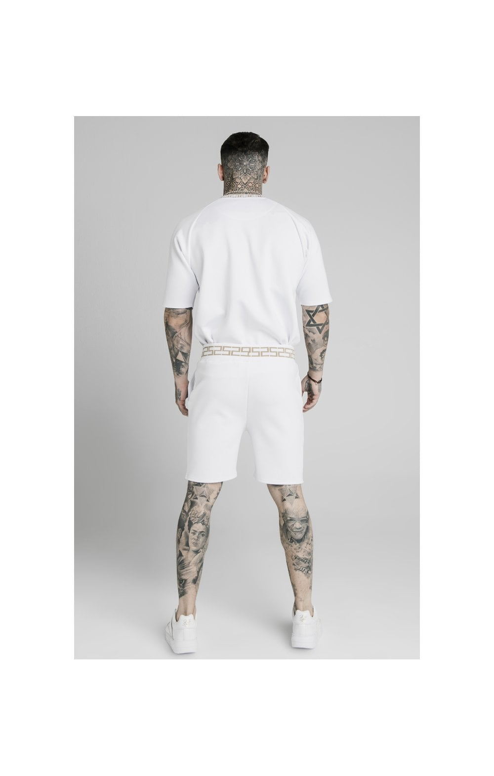 SikSilk Chain Rib Relaxed Shorts - White (5)