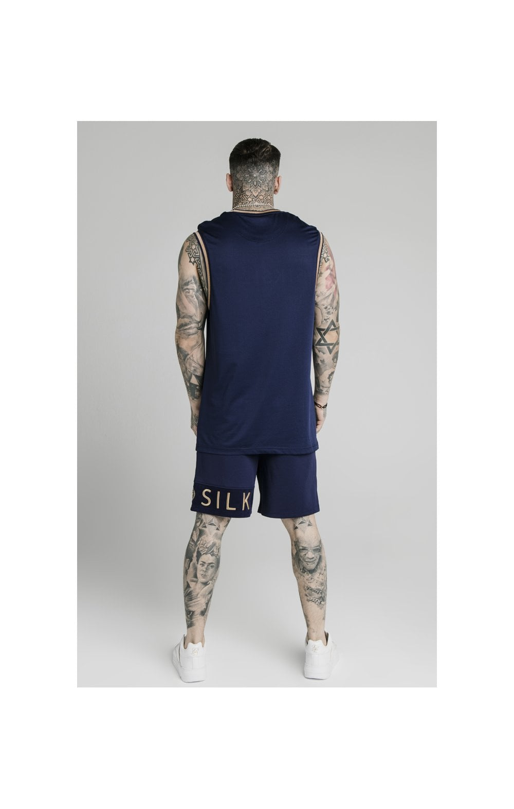 Load image into Gallery viewer, SikSilk Eyelet Mesh Basketball Vest - Navy Eclipse (5)