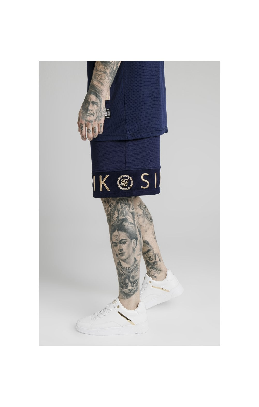SikSilk Eyelet Panel Relaxed Fit Shorts - Navy Eclipse (3)