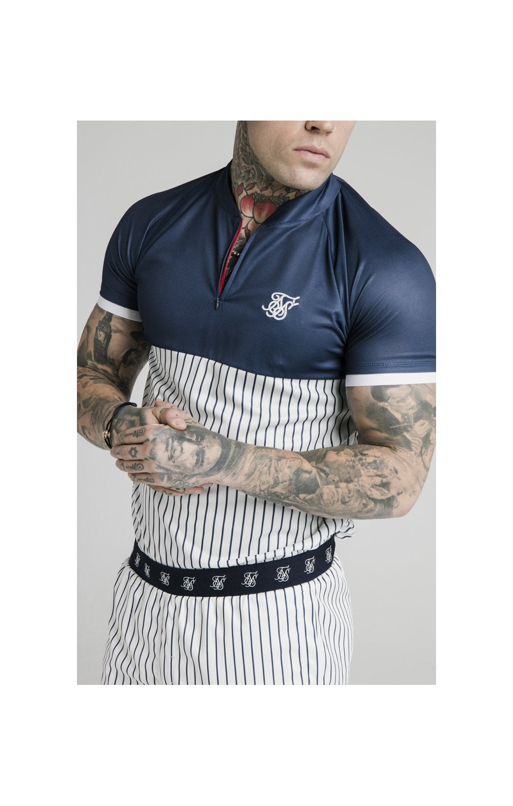 Load image into Gallery viewer, SikSilk S/S Pinstripe Baseball Tee - Navy & White
