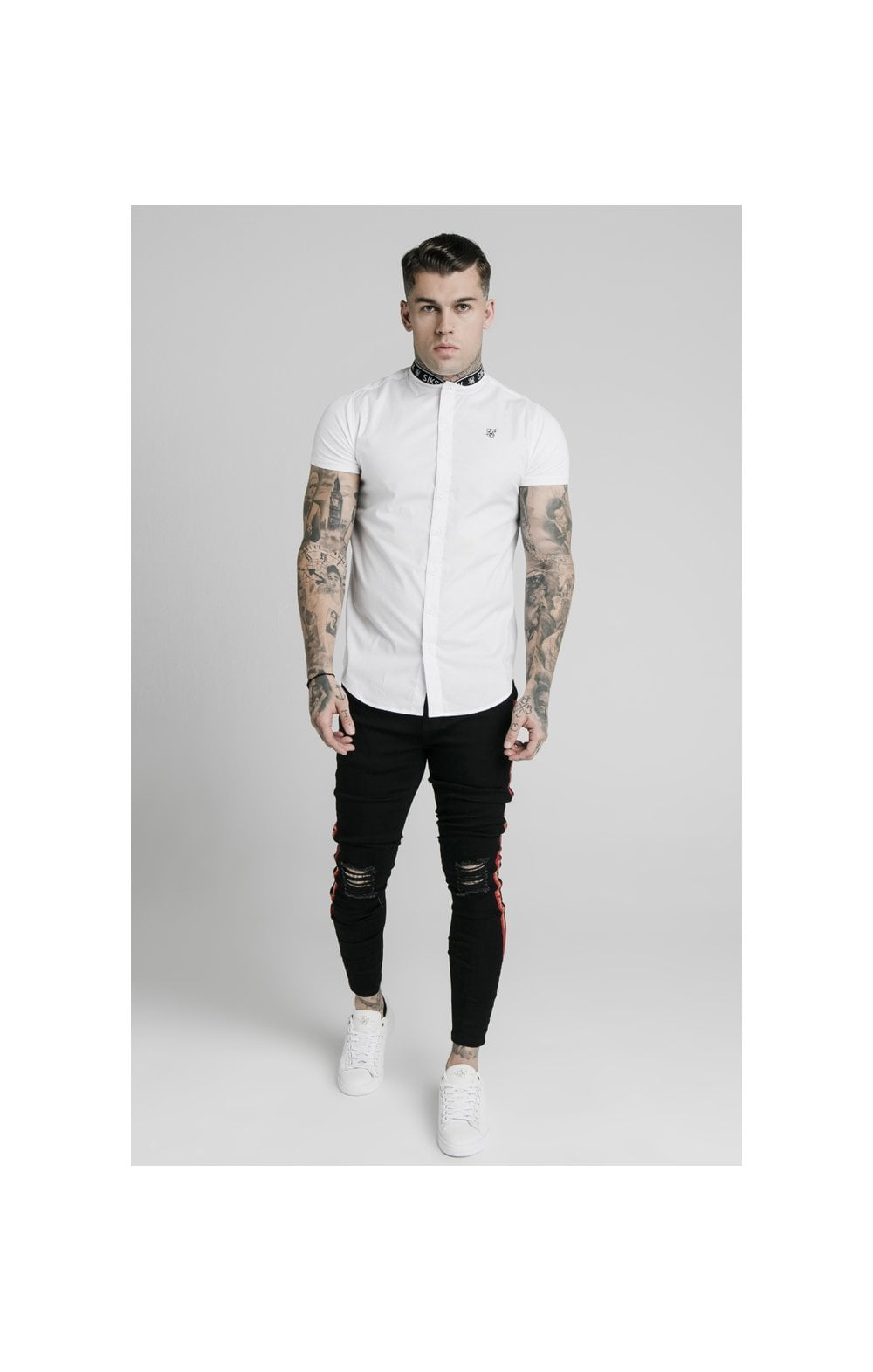 Load image into Gallery viewer, SikSilk S/S Tape Collar Shirt - White (1)