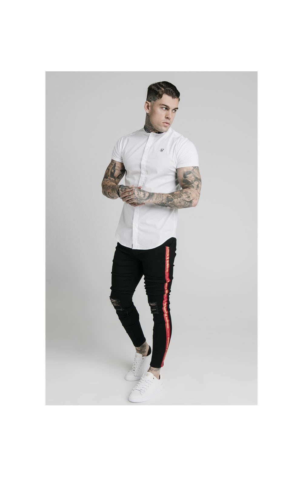 Load image into Gallery viewer, SikSilk S/S Tape Collar Shirt - White (2)
