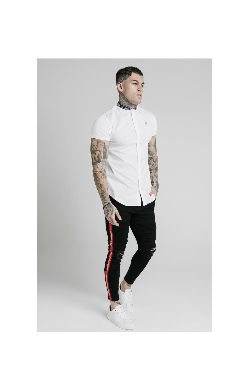 Load image into Gallery viewer, SikSilk S/S Tape Collar Shirt - White (3)