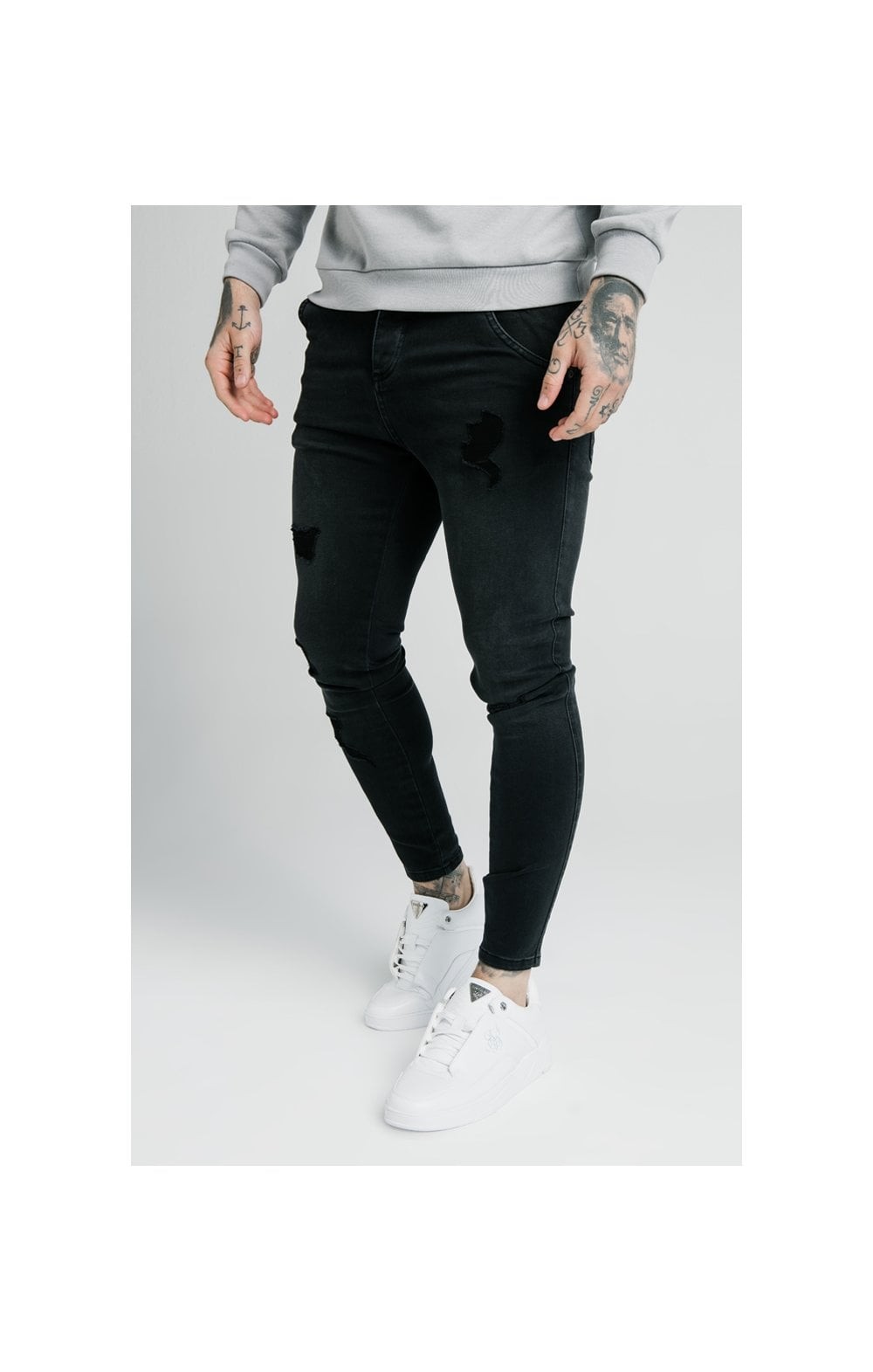 SikSilk Distressed Skinny Jeans – Washed Black