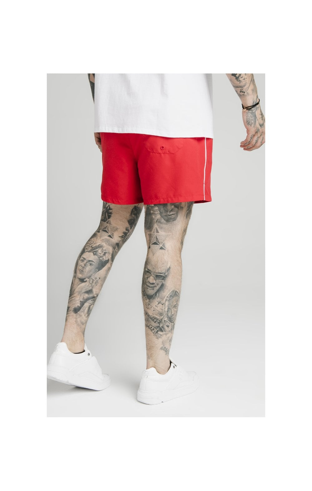 Load image into Gallery viewer, SikSilk Piping Swim Shorts – Red (2)