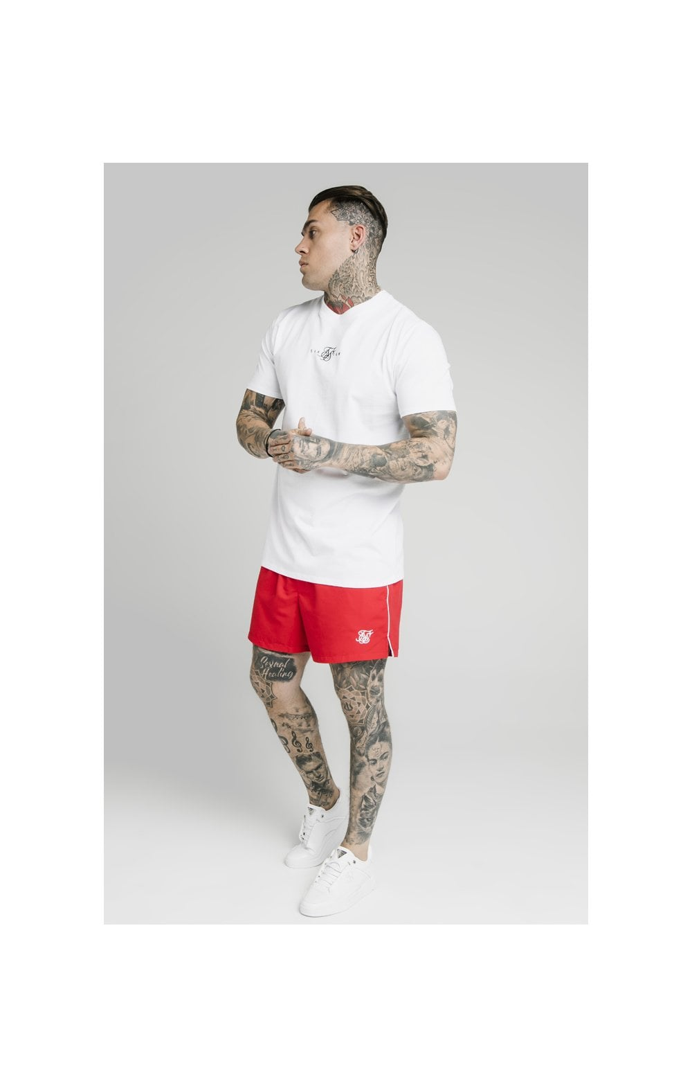 Load image into Gallery viewer, SikSilk Piping Swim Shorts – Red (4)