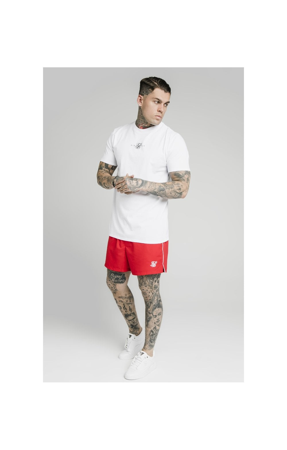 Load image into Gallery viewer, SikSilk Piping Swim Shorts – Red (5)