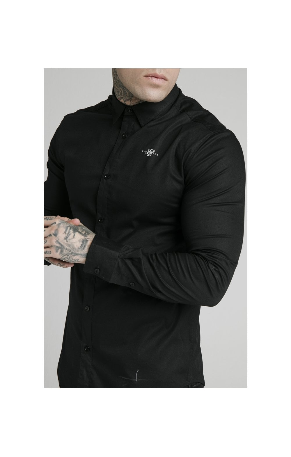 SikSilk L/S Standard Collar Shirt - Black