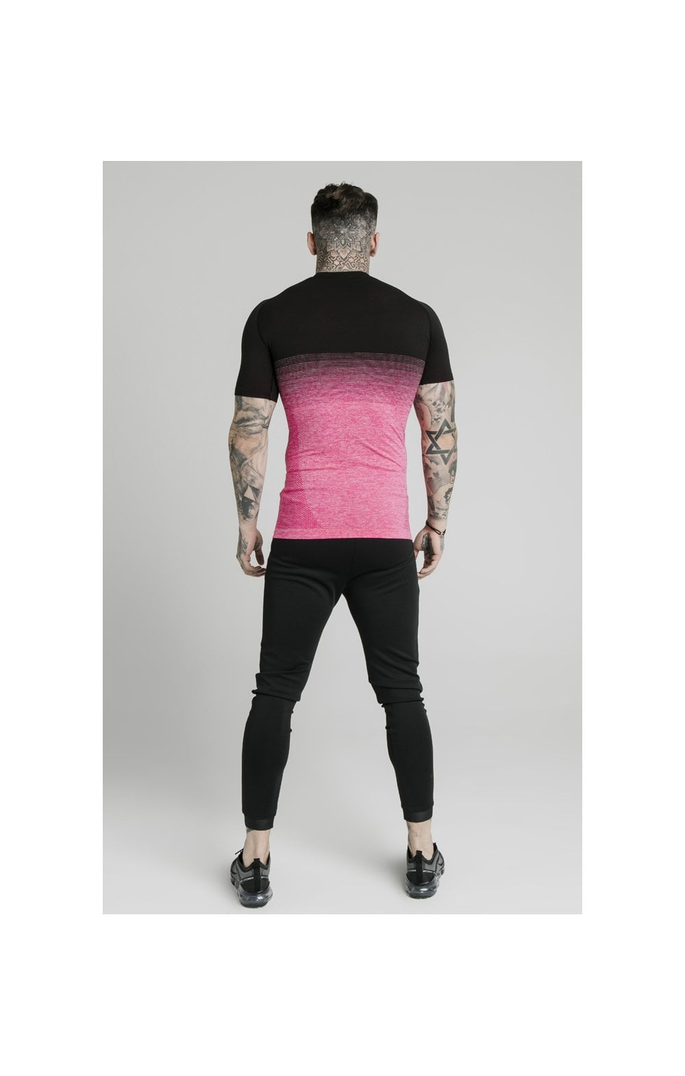 SikSilk Fade Compression Tee - Black & Pink (4)
