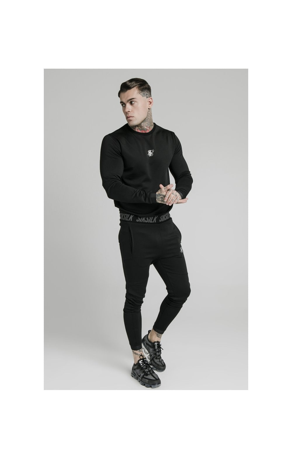 Load image into Gallery viewer, SikSilk L/S Active Crew Sweat - Black (3)