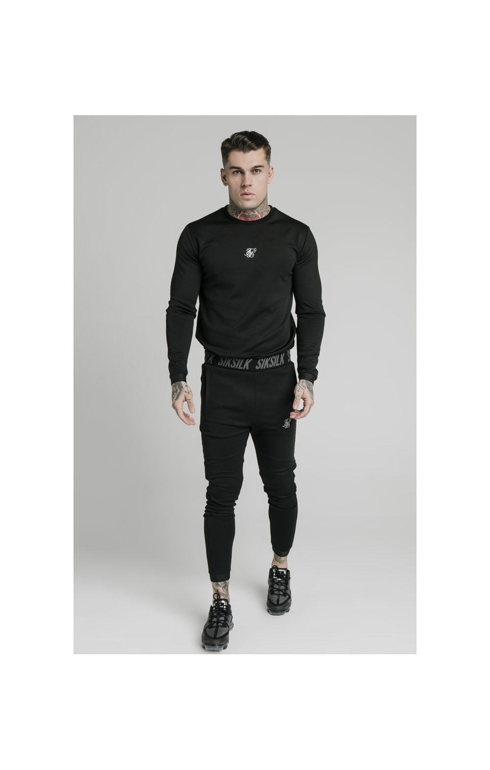Load image into Gallery viewer, SikSilk L/S Active Crew Sweat - Black (4)