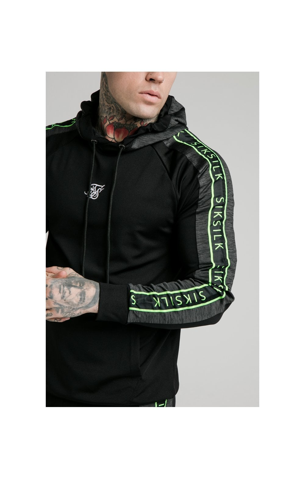Load image into Gallery viewer, SikSilk Hyper Vapour Overhead Tape Hoodie - Black & Neon Fluro