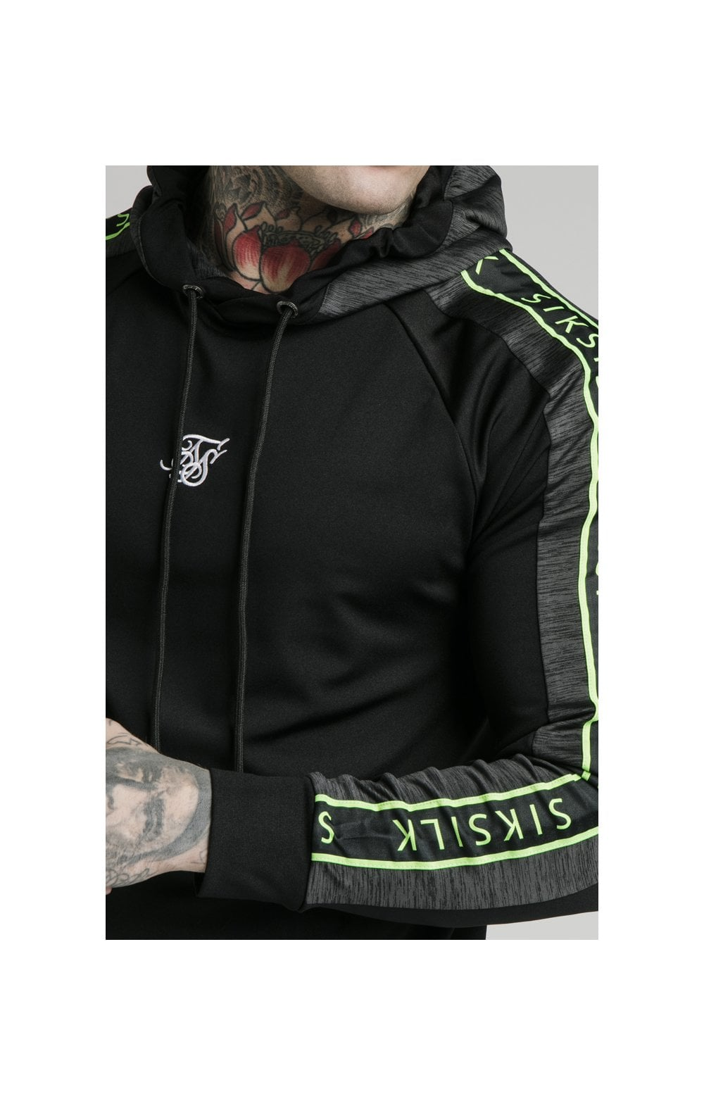 Load image into Gallery viewer, SikSilk Hyper Vapour Overhead Tape Hoodie - Black & Neon Fluro (1)