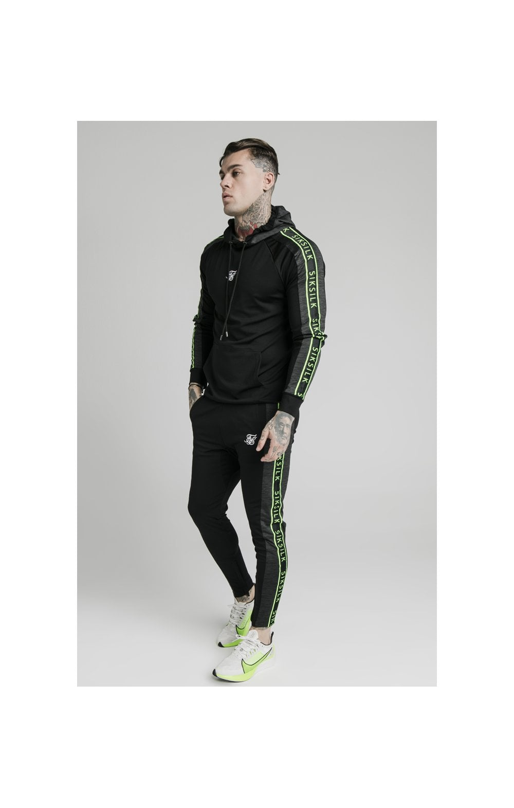Load image into Gallery viewer, SikSilk Hyper Vapour Overhead Tape Hoodie - Black & Neon Fluro (4)