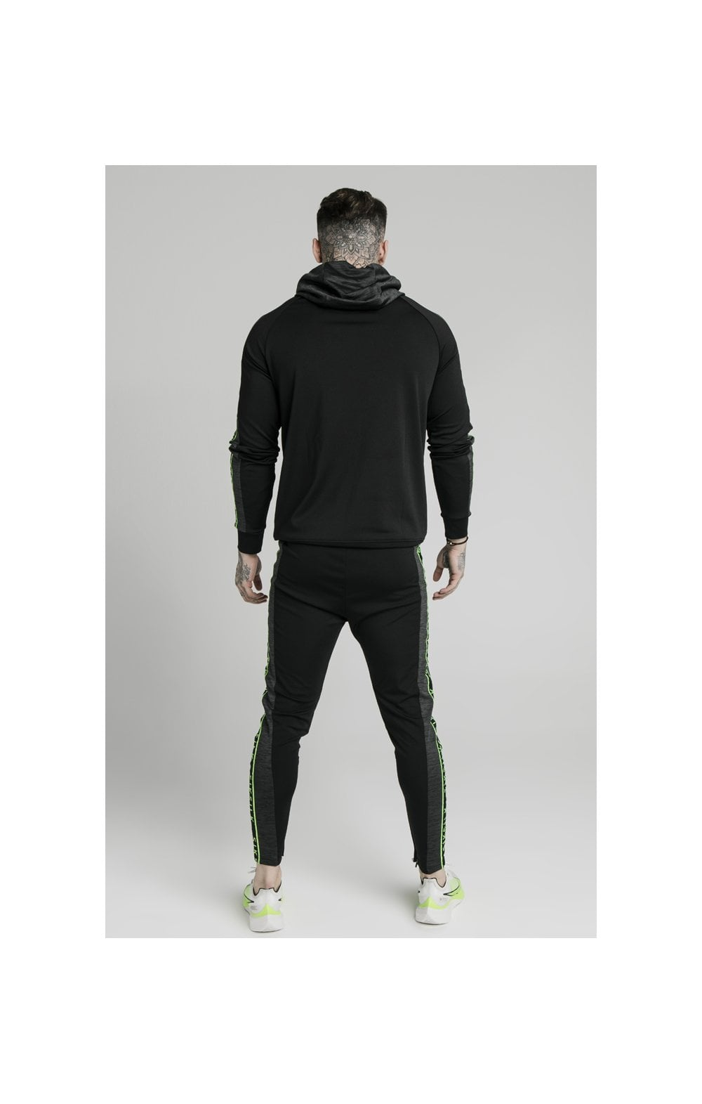 Load image into Gallery viewer, SikSilk Hyper Vapour Overhead Tape Hoodie - Black & Neon Fluro (5)