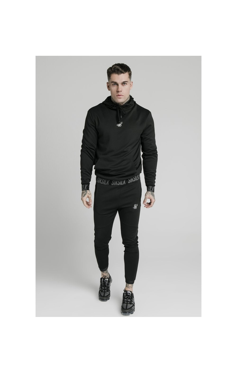 SikSilk Active Muscle Fit Overhead Hoodie - Black (2)