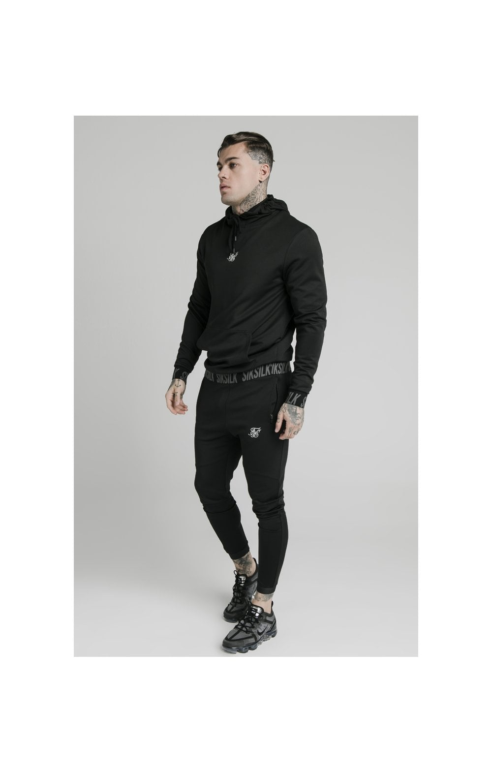 SikSilk Active Muscle Fit Overhead Hoodie - Black (3)