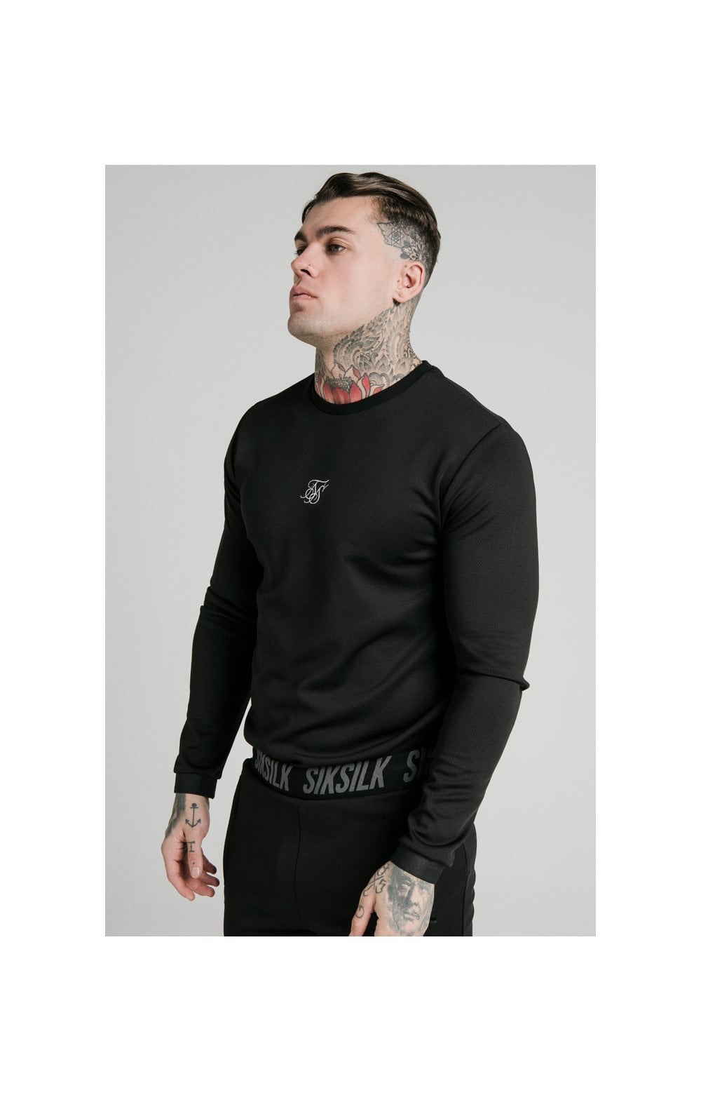 Load image into Gallery viewer, SikSilk L/S Active Crew Sweat - Black