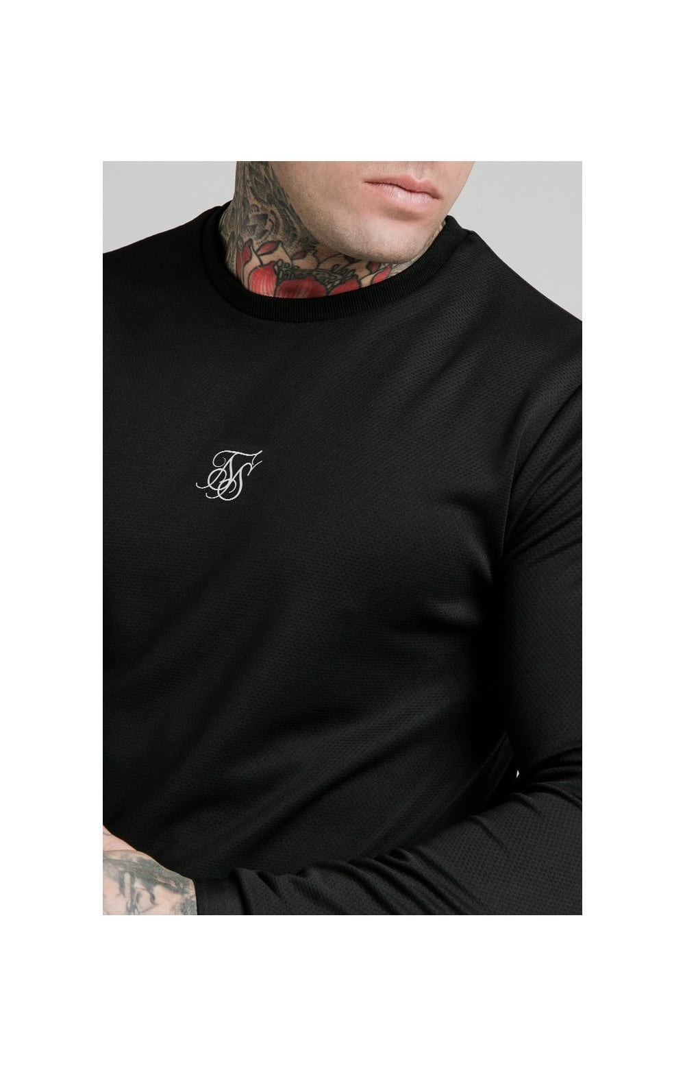 Load image into Gallery viewer, SikSilk L/S Active Crew Sweat - Black (1)