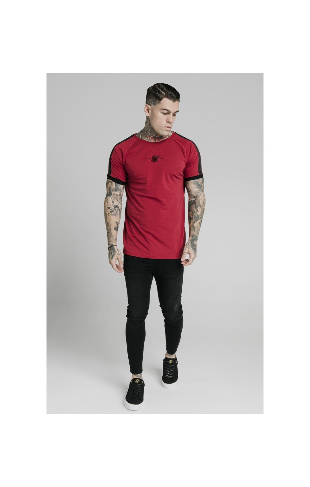 Load image into Gallery viewer, SikSilk S/S Raglan Tape Gym Tee - Red (1)