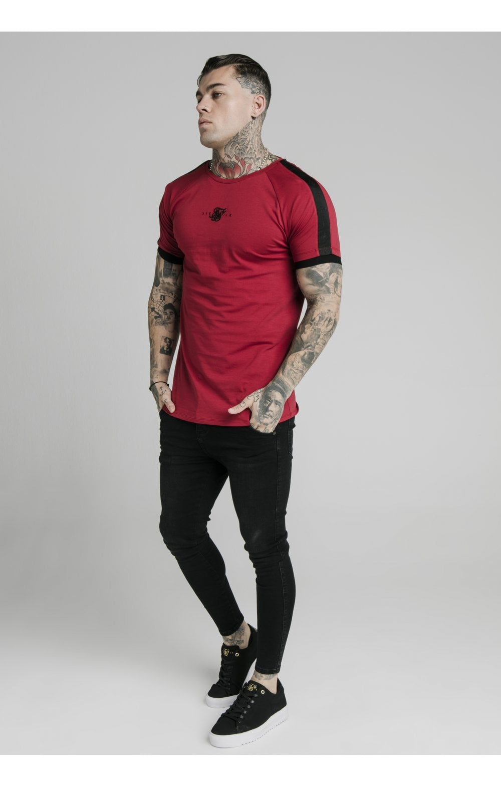 Load image into Gallery viewer, SikSilk S/S Raglan Tape Gym Tee - Red (2)