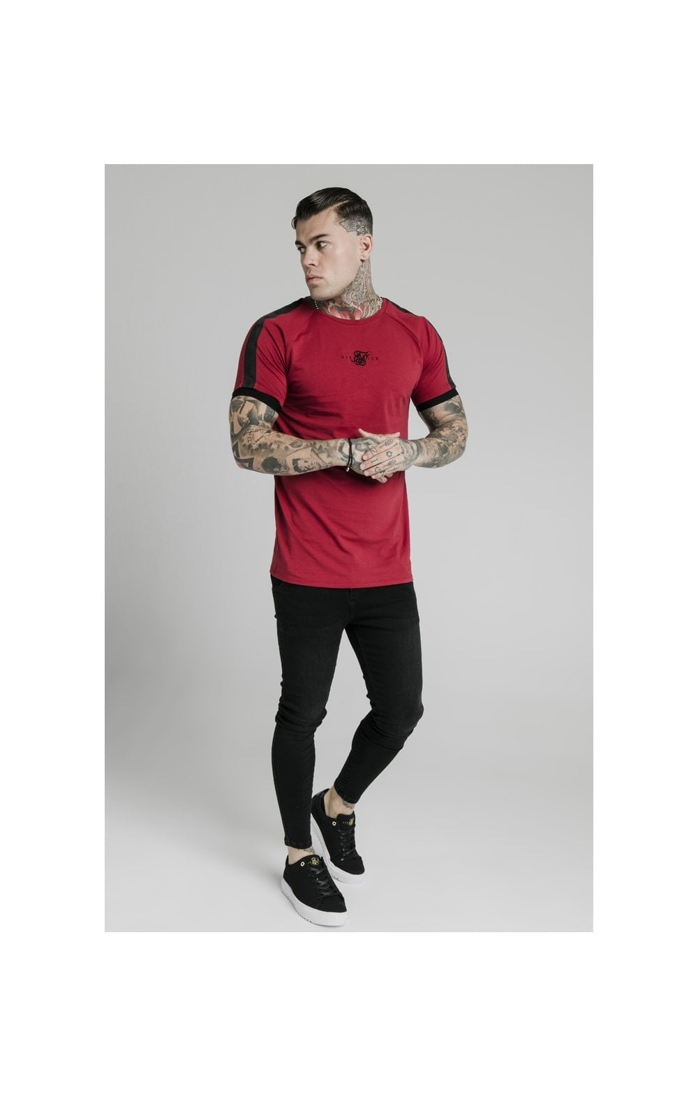 Load image into Gallery viewer, SikSilk S/S Raglan Tape Gym Tee - Red (3)