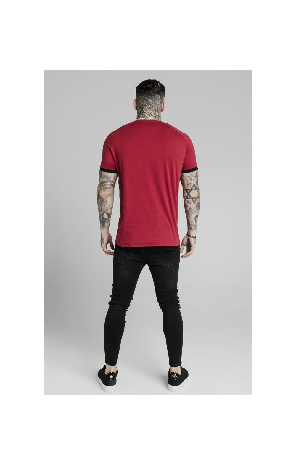 Load image into Gallery viewer, SikSilk S/S Raglan Tape Gym Tee - Red (4)