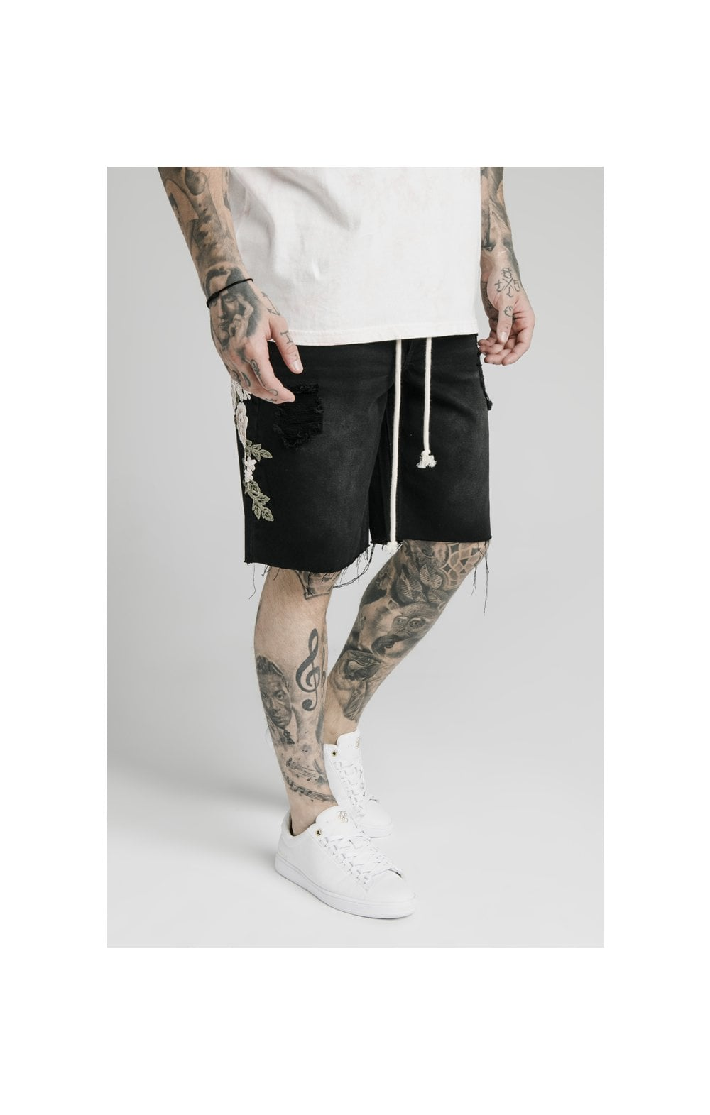 SikSilk Loose Fit Denim Shorts - Washed Black (1)