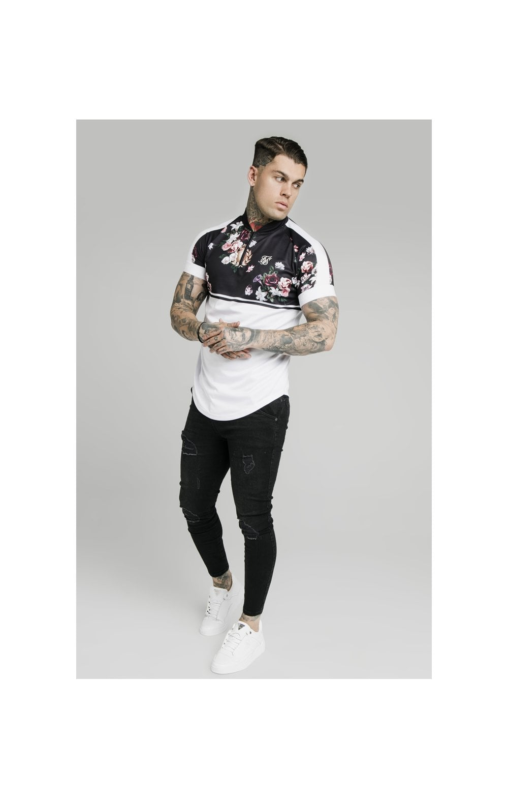 Load image into Gallery viewer, SikSilk Pinstripe Baseball Tee – Navy (3)