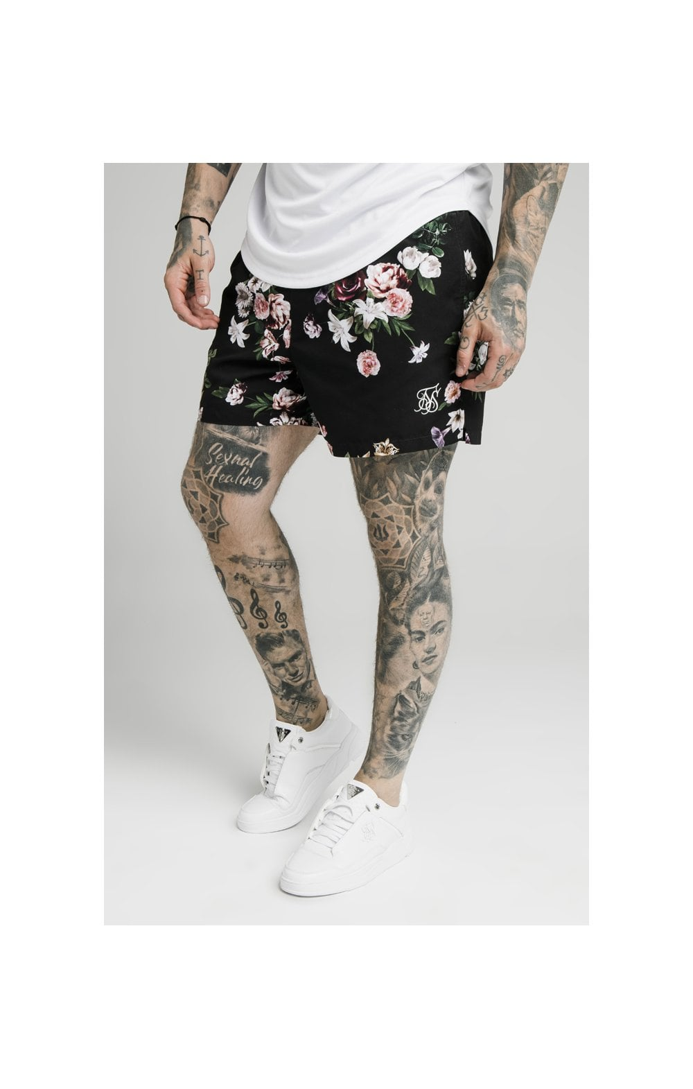 SikSilk Floral Swim Shorts – Black