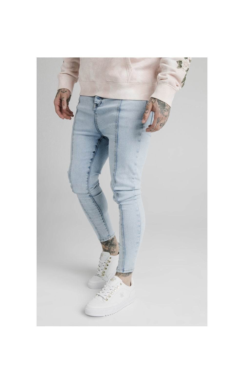 Load image into Gallery viewer, SikSilk Drop Crotch Pleated Applique Denims - White (1)