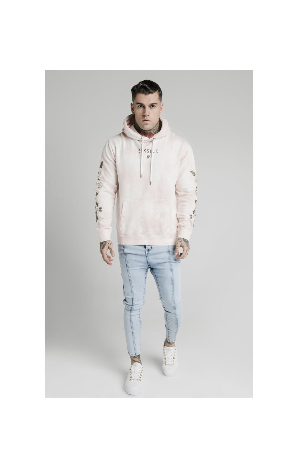 Load image into Gallery viewer, SikSilk Drop Crotch Pleated Applique Denims - White (2)