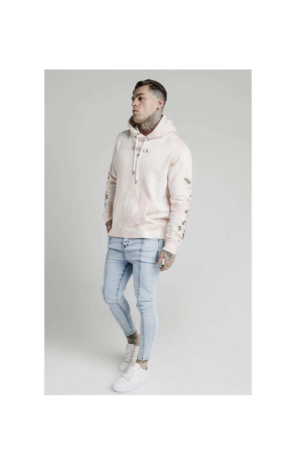 Load image into Gallery viewer, SikSilk Drop Crotch Pleated Applique Denims - White (3)