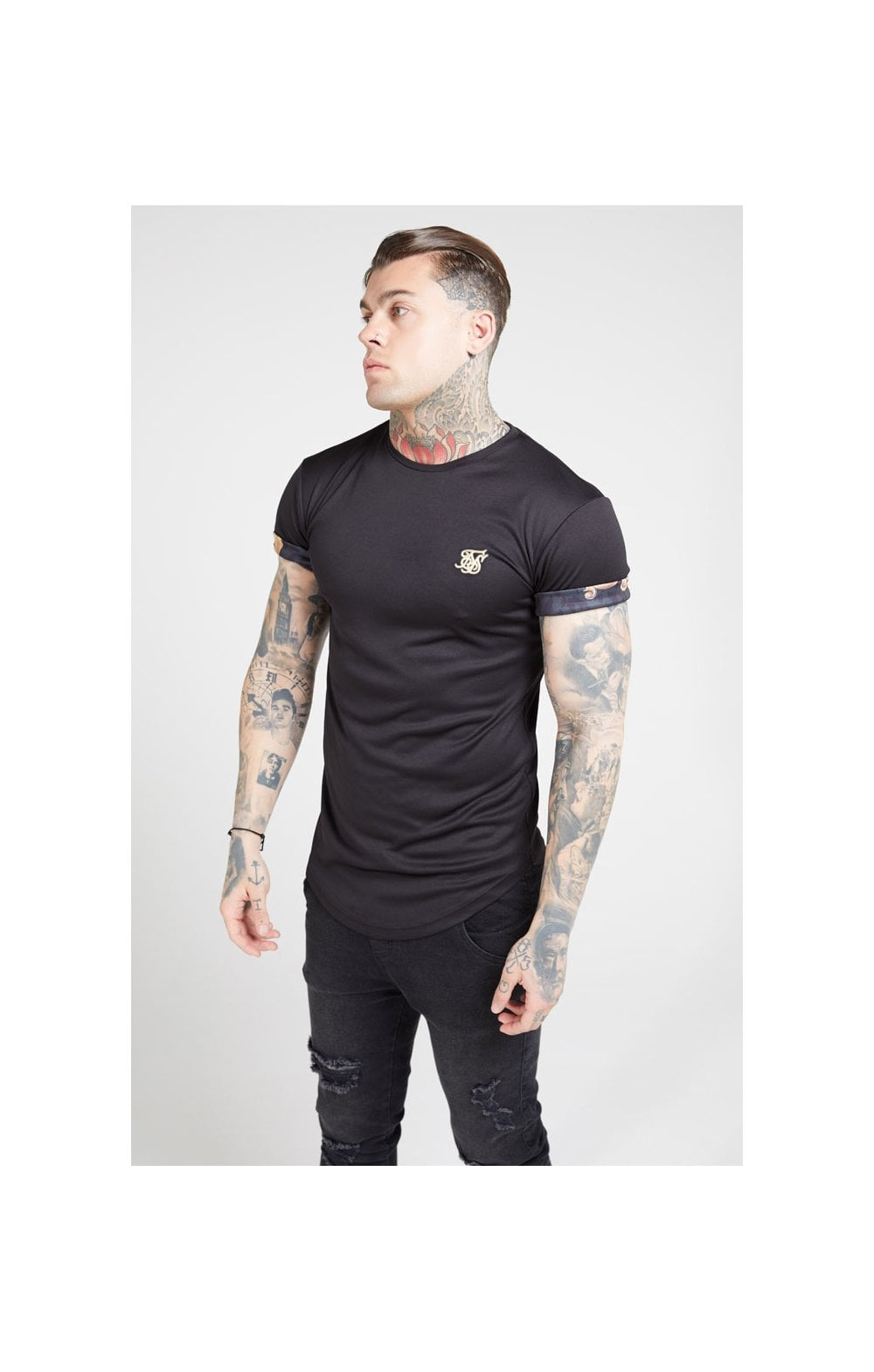 Load image into Gallery viewer, SikSilk S/S Roll Sleeve Tee – Black & Floral Animal