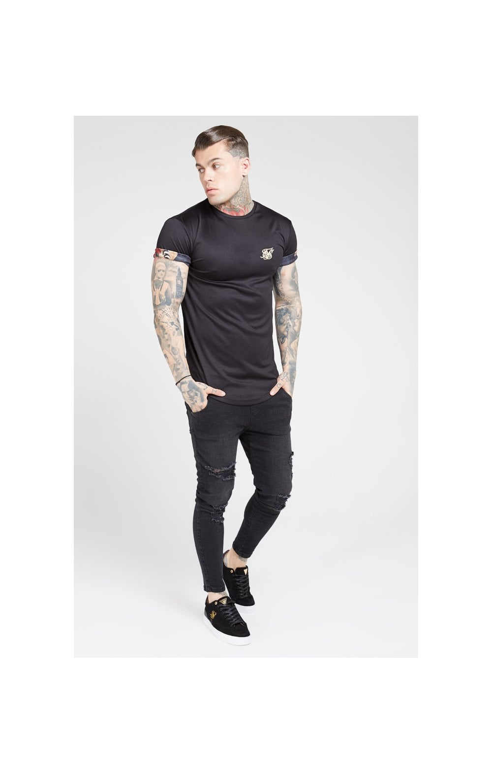 SikSilk S/S Roll Sleeve Tee – Black & Floral Animal (1)