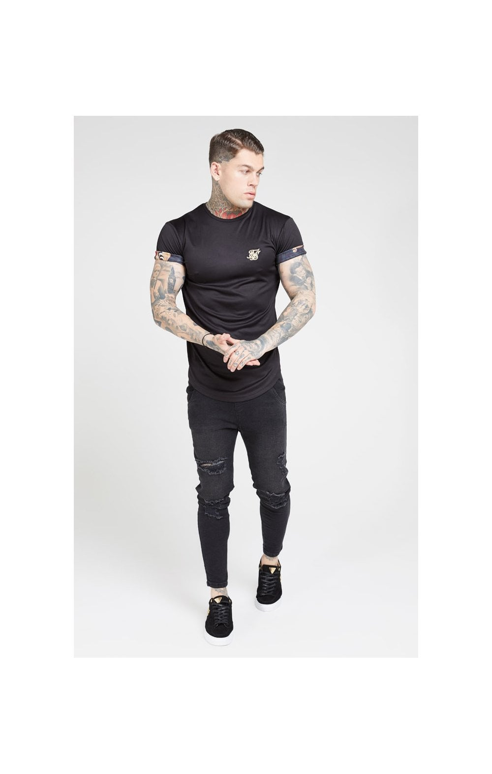 SikSilk S/S Roll Sleeve Tee – Black & Floral Animal (2)