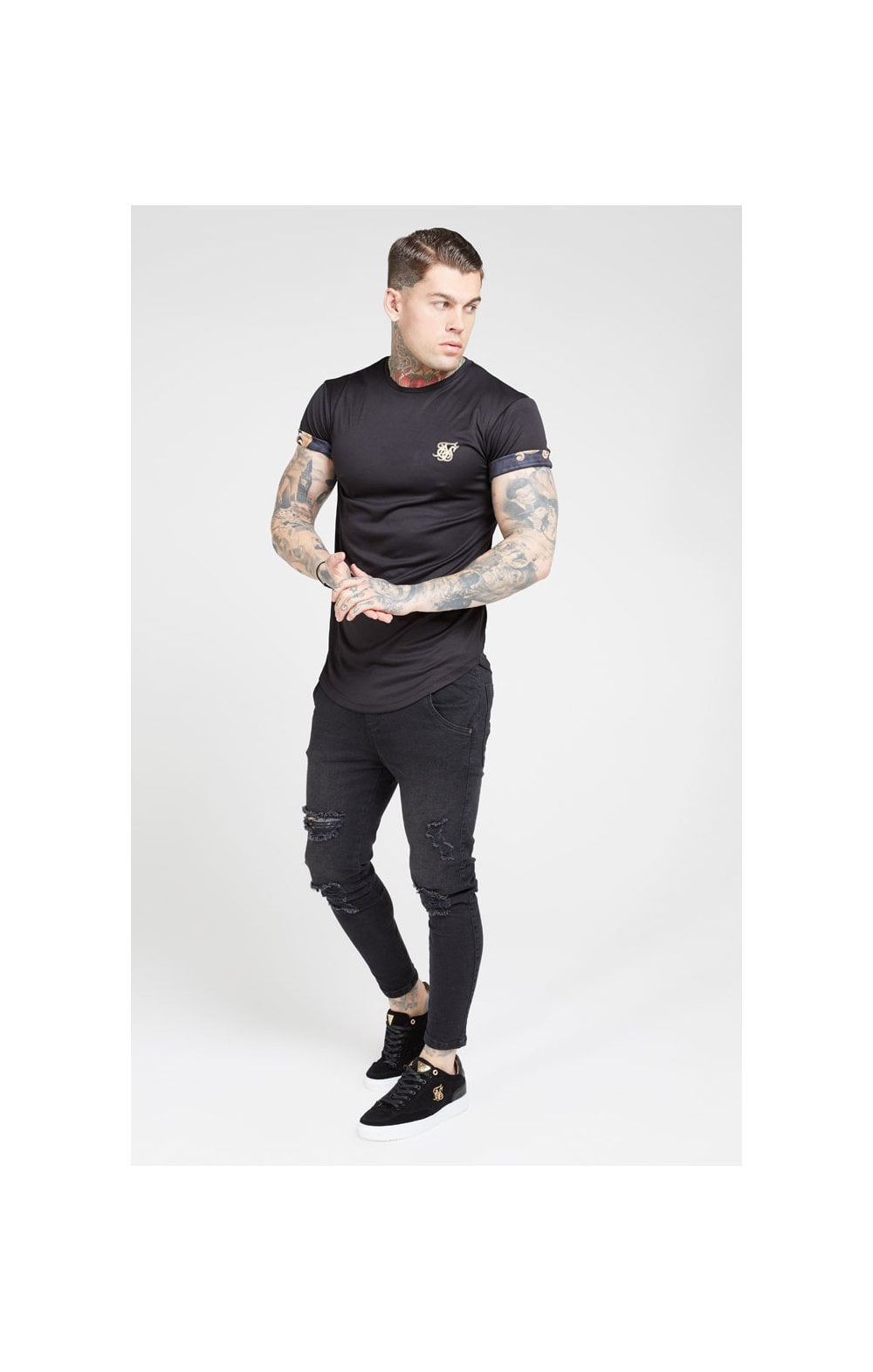 Load image into Gallery viewer, SikSilk S/S Roll Sleeve Tee – Black & Floral Animal (3)
