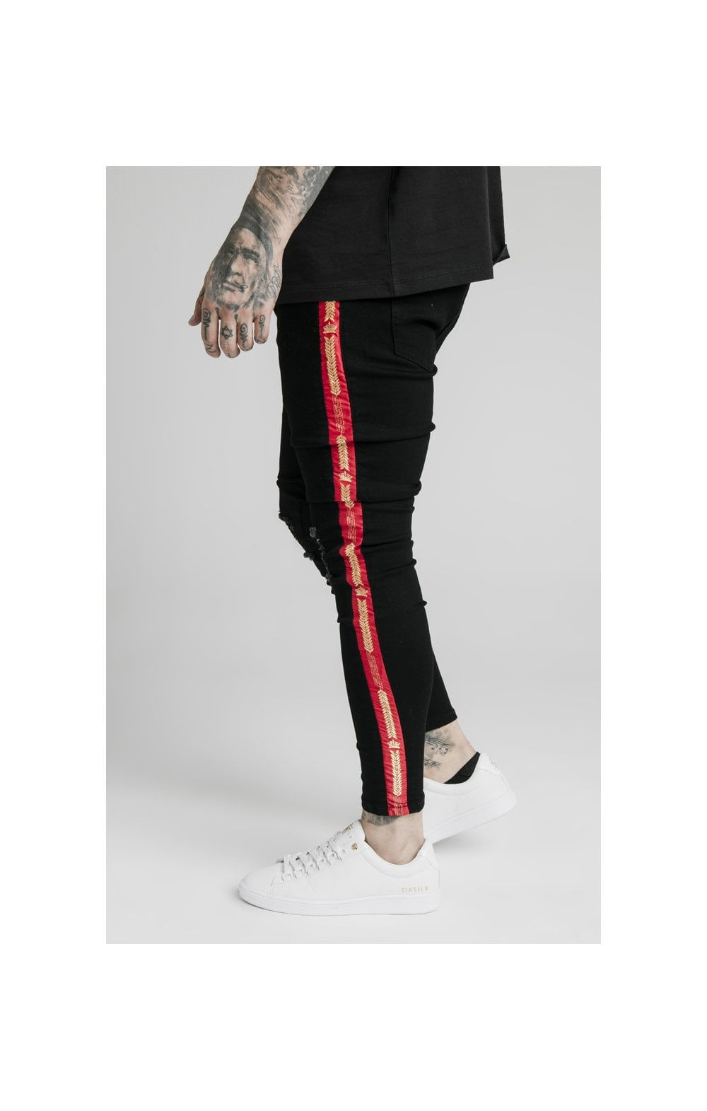 SikSilk Burst Knee Denims - Black