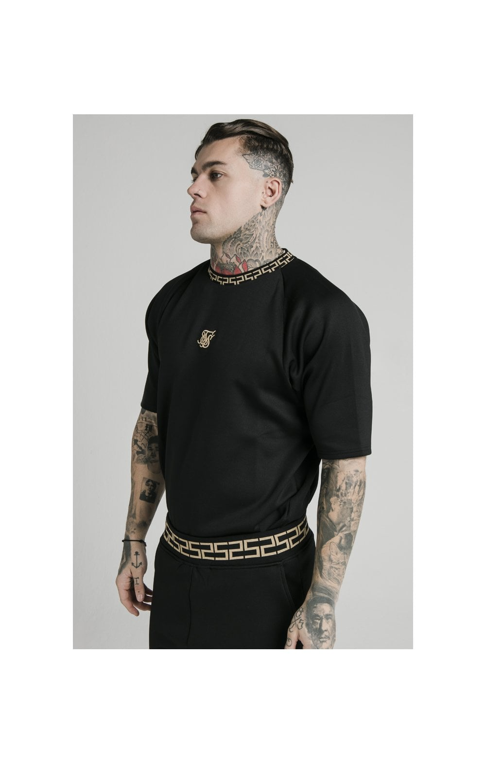 SikSilk S/S Chain Rib Raglan Sweater - Black