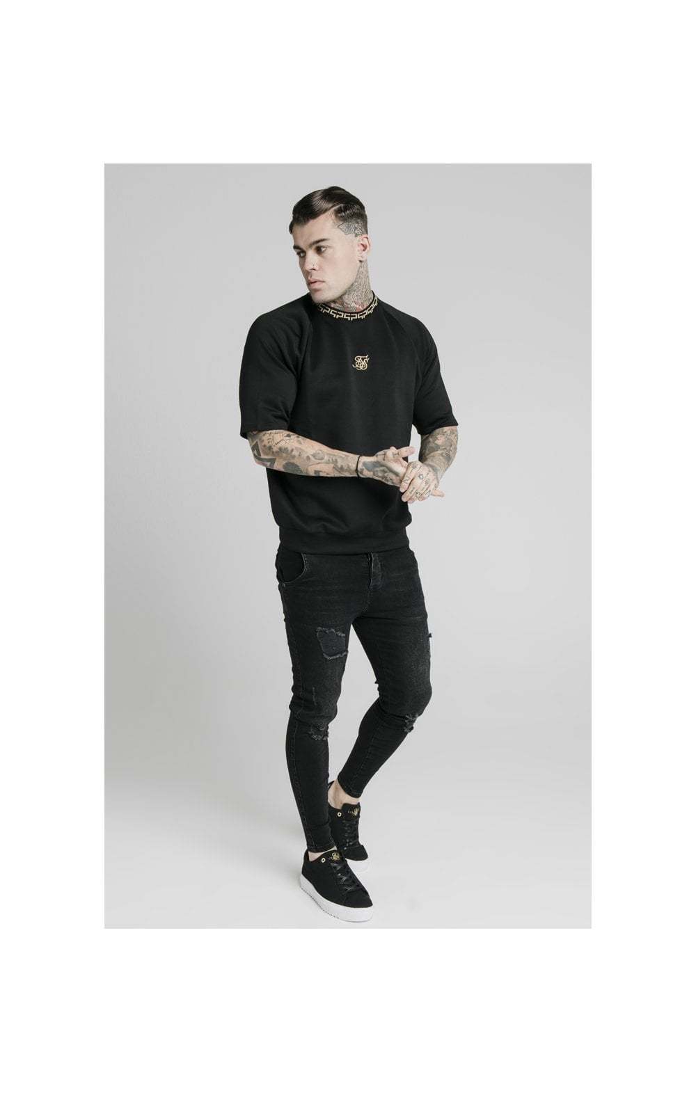 SikSilk S/S Chain Rib Raglan Sweater - Black (2)