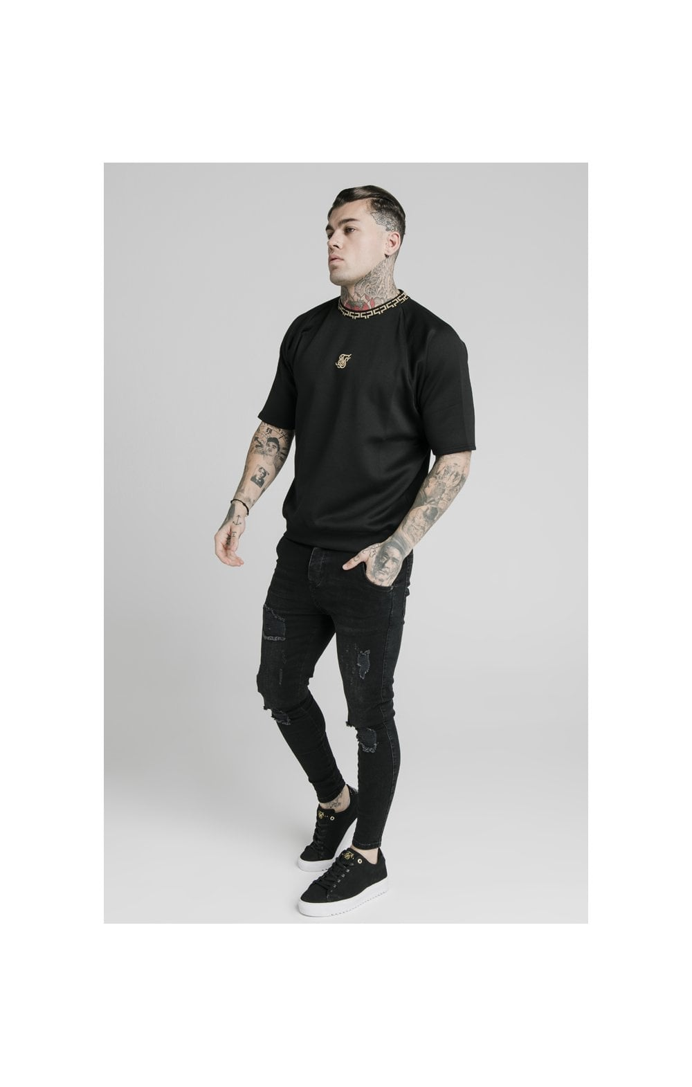 SikSilk S/S Chain Rib Raglan Sweater - Black (3)
