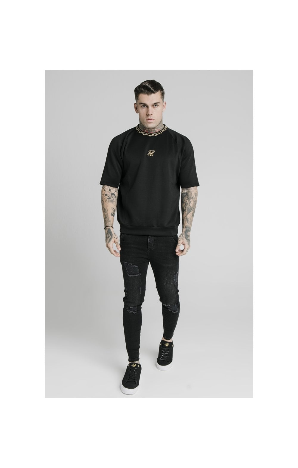 SikSilk S/S Chain Rib Raglan Sweater - Black (4)