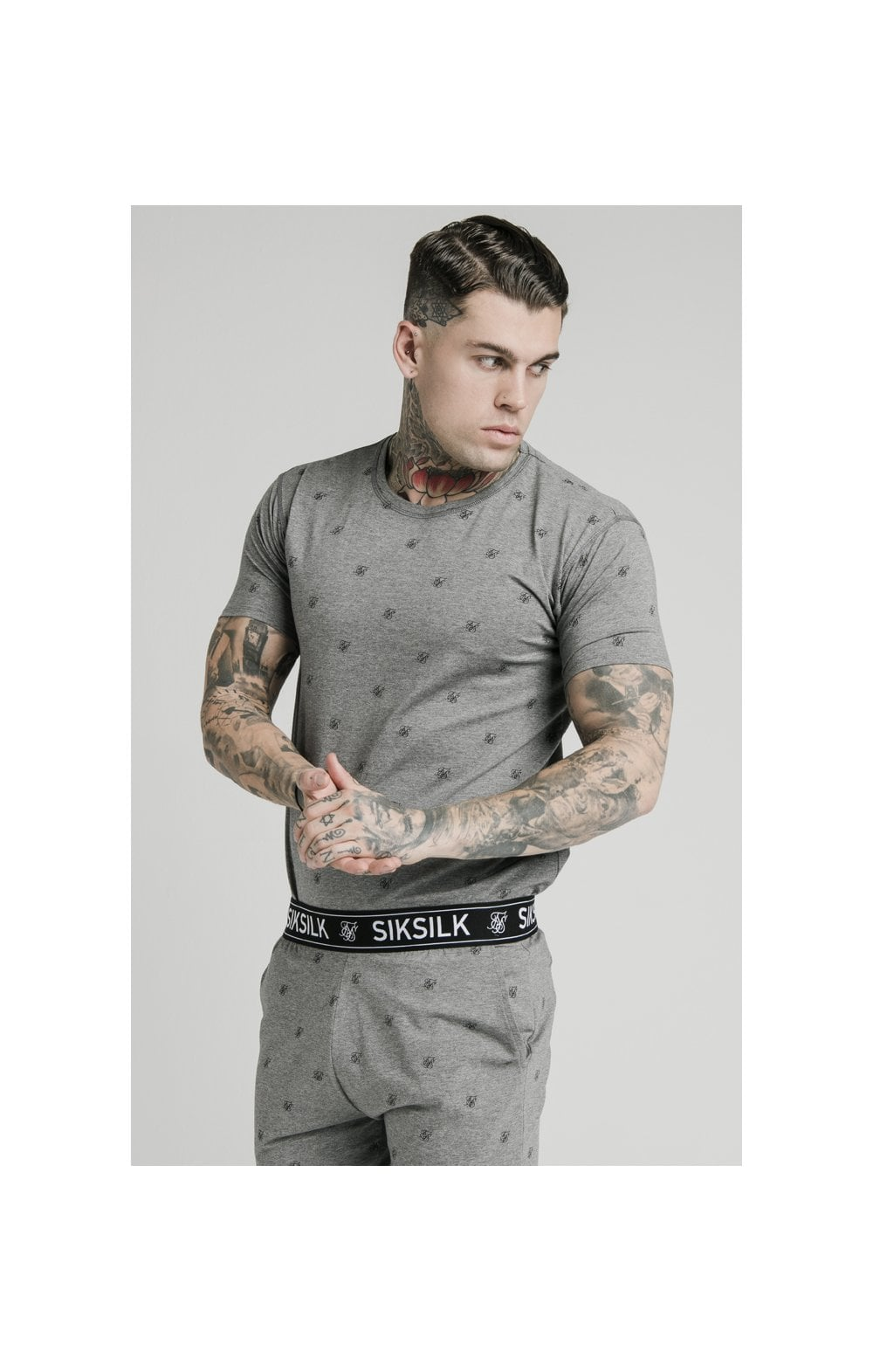 SikSilk Logo Jersey Shorts - Grey Marl (4)