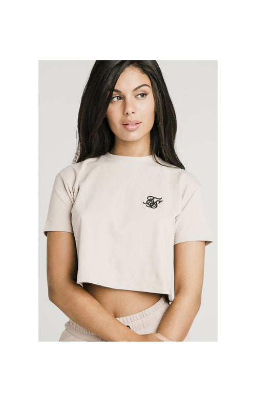 SikSilk Retro Box Fit Crop Tee Beige