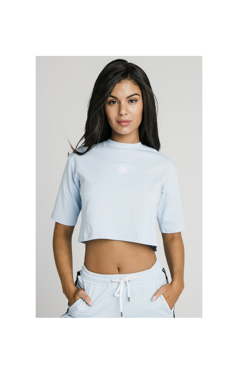 SikSilk Oversize Crop Tee - Light Blue